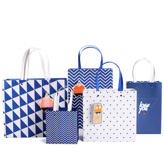 Luxury Paper Package Handle Bag, Gift Bag with Ribbon